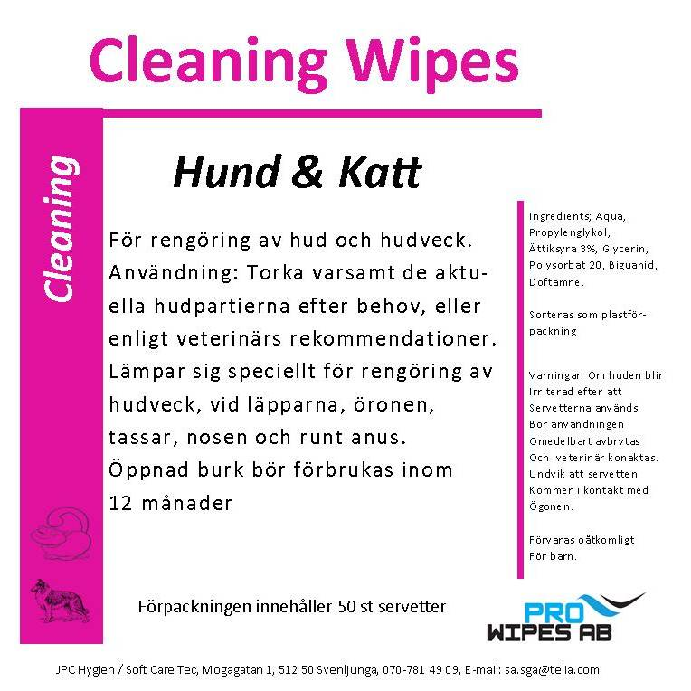 Cleaning Wipes Hund & Katt