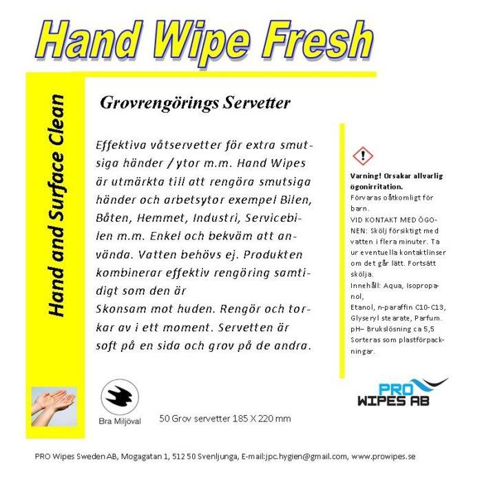 Hand Wipes Fresh