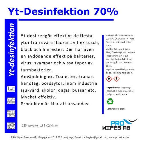 Ytdesinfektion 70% (servetter)