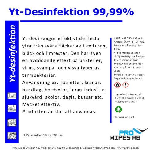Ytdesinfektion 99,99% (servetter)