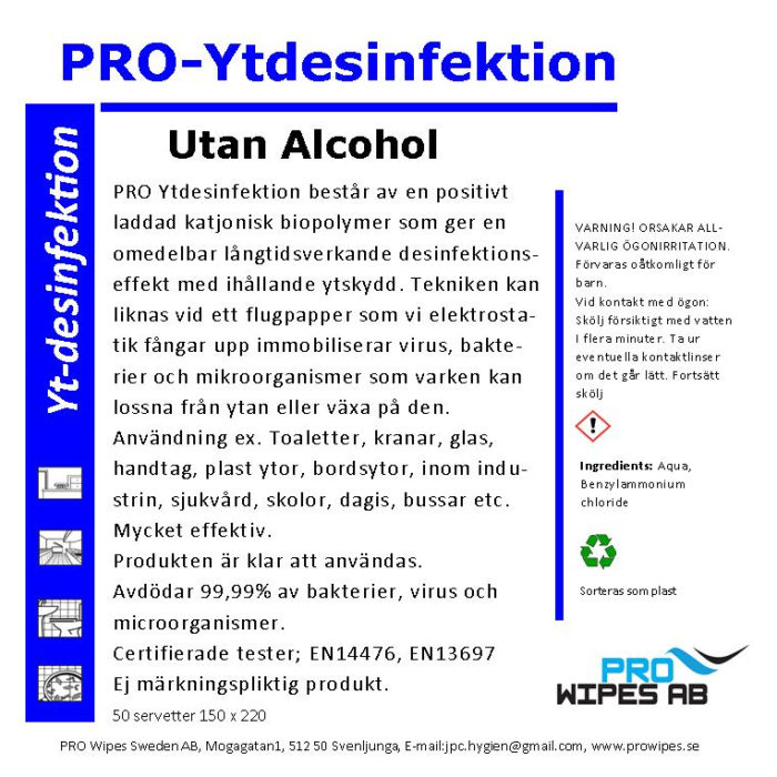 Ytdesinfektion Alkoholfri (servetter)